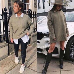 Zara Knit Double Ribbed Trim Sweater Tunic Dress Green Women's Size Medium